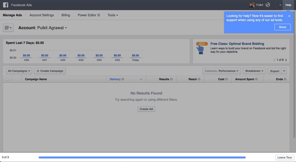 Второй и третий шаг знакомства с обновлениями Facebook Ads.