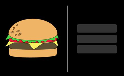 Гамбургер и иконка-гамбургер