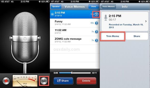 Голосовые заметки в iOS