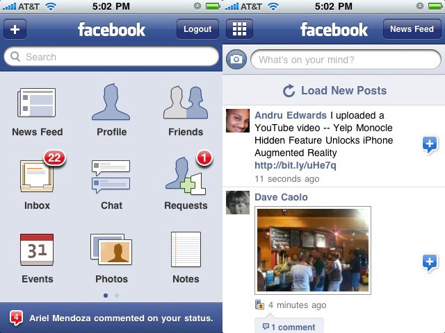 Приложение Фейсбук с сеточной иконкой в 3 ряда